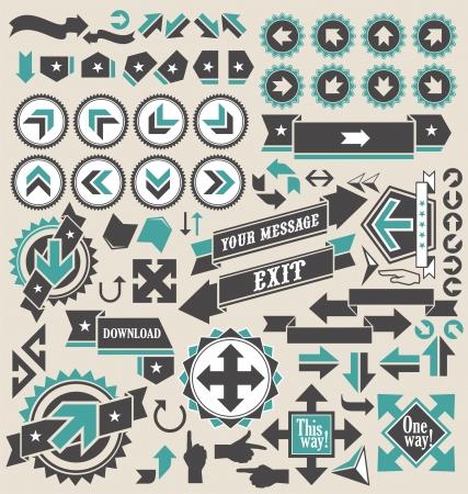 flecha derecha: Retro flechas conjunto de iconos