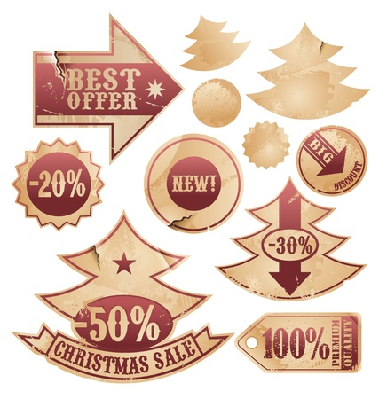 collection of Christmas tree labels and design elements Vector