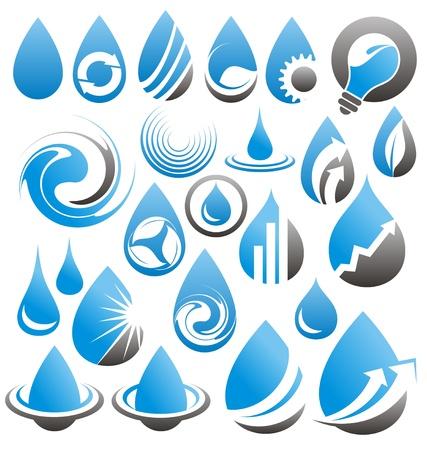 agua: Conjunto de gotas de agua iconos, s�mbolos, logotipos y elementos de dise�o Vectores