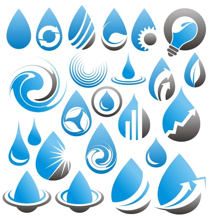 drops of water: Set of water drops icons, symbols, logos and design elements Illustration