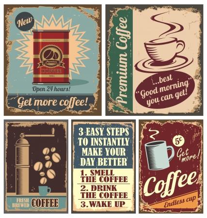 ビンテージ コーヒー ポスターや金属製の標識