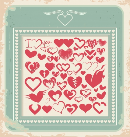 Retro poster with heart icons for Valentines day Stock Vector - 17306737
