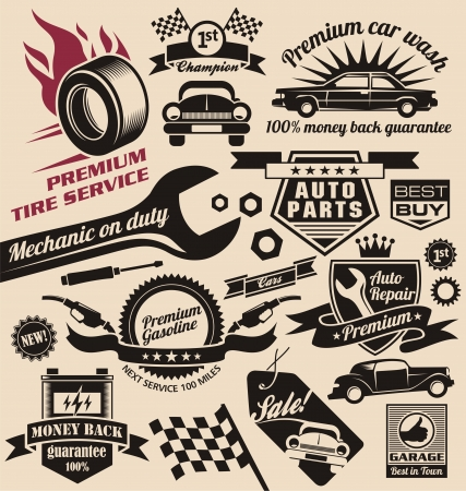 set of vintage car symbols and logos Illustration
