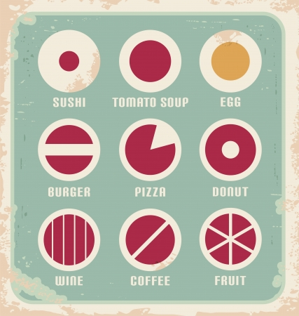 kitchen poster: Retro set of food pictogram, icons and symbols