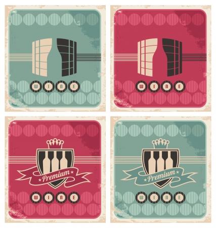 beverage menu: set of vintage wine posters and labels Illustration