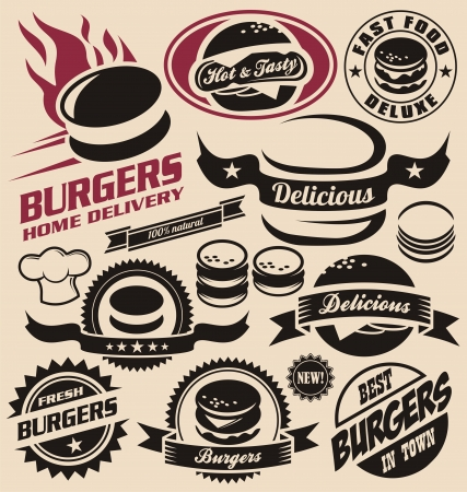 burger: Burger and fast food icons, labels, signs, symbols