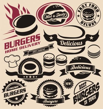 Hamburguesa y rápido iconos de alimentos, etiquetas, signos, símbolos Ilustración de vector