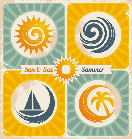 Retro summer holiday poster Stock Vector - 17500305