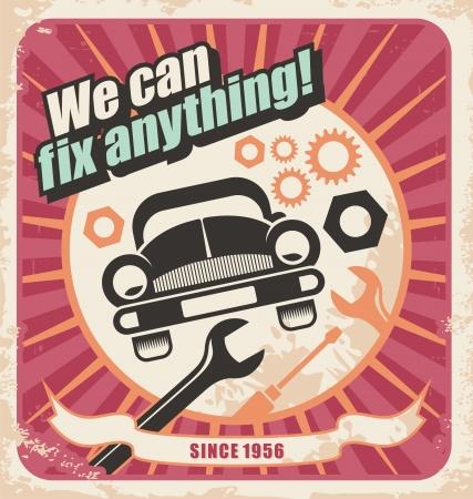 mecanico automotriz: Auto servicio retro poster