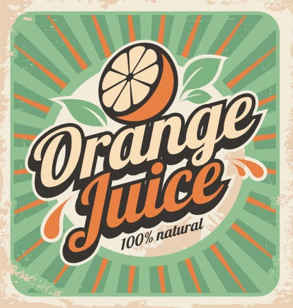 leaf logo: Orange juice retro poster. Vector vintage label. Illustration