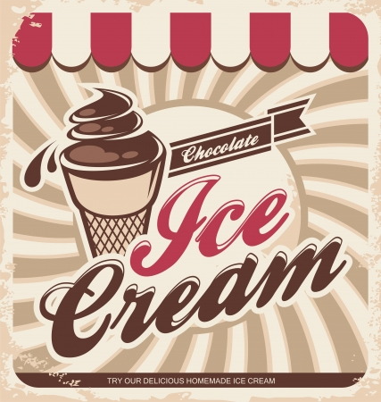 ice cream: Vector illustration of vintage ice cream sign