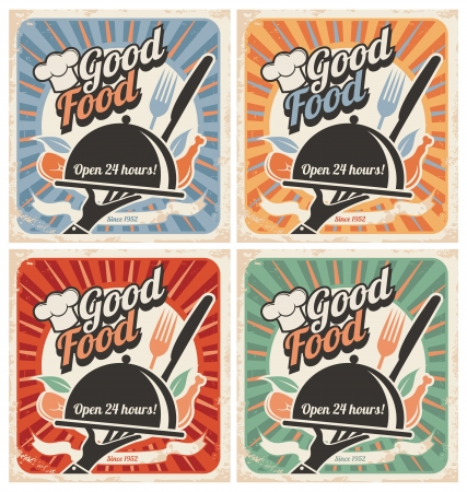 Set of retro restaurant posters Stock Vector - 17758008