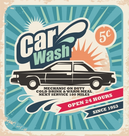 wash: Retro car wash poster Illustration