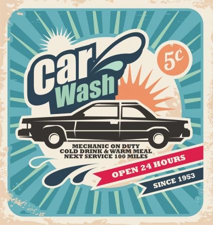 car wash: Retro car wash poster Illustration