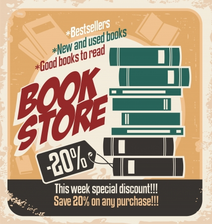 Retro bookstore poster design. Vintage poster template with books.  Vector
