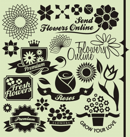 Set of flower symbols, icons and signs Vector