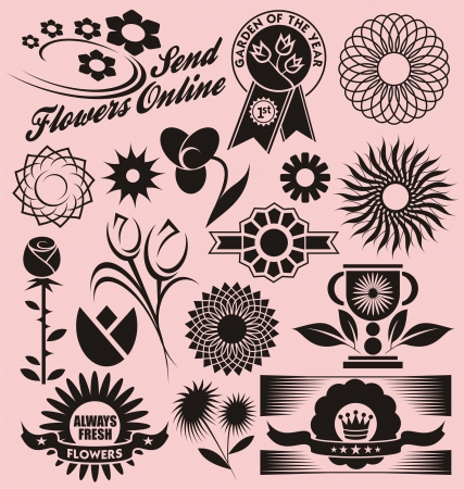 Floral collection of decorative vectors Stock Vector - 17926067