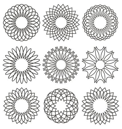 rosaces: Ensemble de rosettes. �l�ments de conception guilloch�. Ornements de d�coration vecteur de collecte lignes de la monnaie ou la conception certificat.