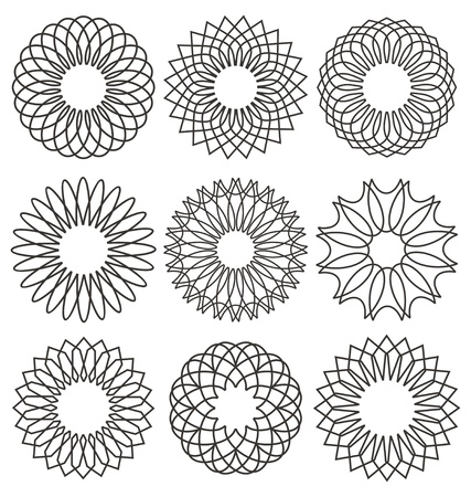 rosettes: Set of rosettes. Guilloche design elements. Ornaments and decorative lines vector collection for currency or certificate design.