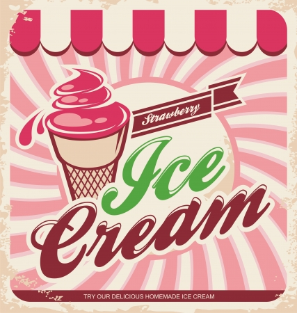 Vector illustration of vintage strawberry  ice cream sign.