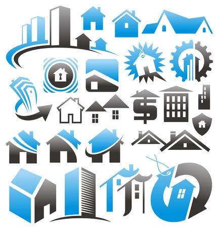 building security: Set of house icons, symbols and signs