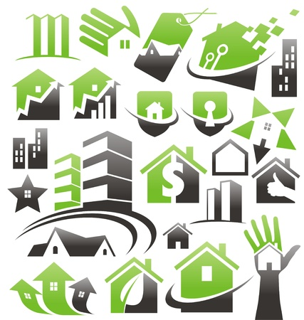 Set of house icons, symbols and logos Stock Vector - 17999073