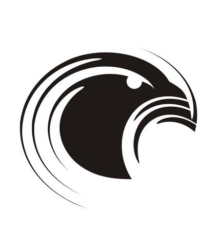 イーグル - ユニークなとモダンな紋章のロゴのデザイン コンセプト