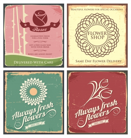 Vintage set of metal tin signs for flower shop Stock Vector - 18031697