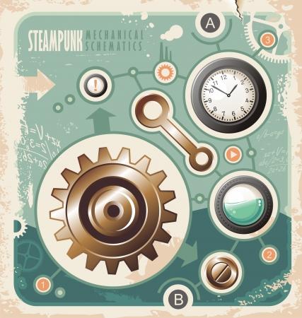 watch gears: Steam punk creative concept of mechanical schematics. Retro background with engineering scheme. Vintage industrial info graphic. Illustration
