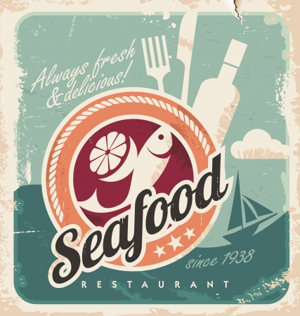 Vintage poster for seafood restaurant. Retro old paper background with fish and food.
