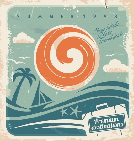Vintage summer holiday poster. Vector template for travel agency. Retro hotel advertising background with old paper pattern.