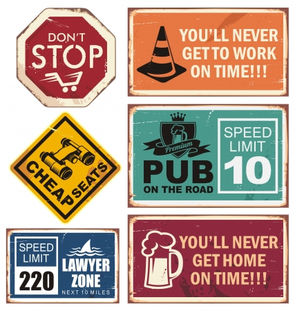 stop signs: illustration of road signs with unique creative messages