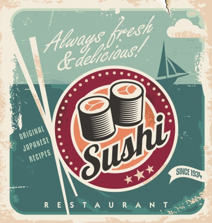 30s: Vintage poster for Japanese restaurant. Retro vector background with sushi rolls.