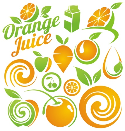juice fruit: Set di frutta e succhi di icone, simboli, etichette ed elementi di design Vettoriali