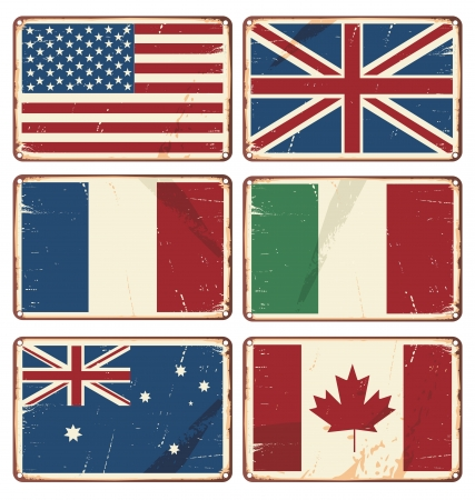 illustration of retro tin signs with state flags Vector
