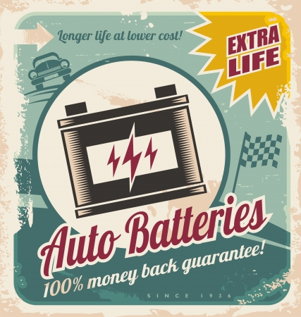 old fashioned car: Retro auto batteries poster design. Vintage background for car service or car parts shop. Illustration