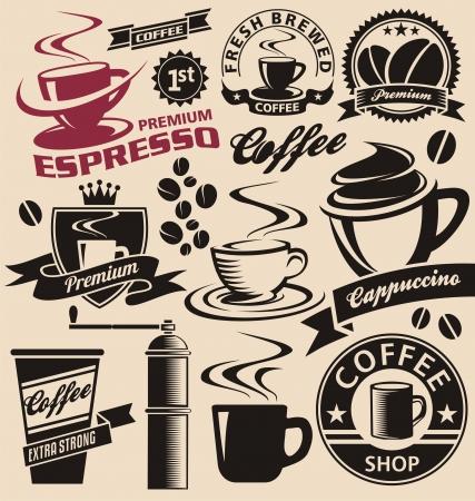 logos restaurantes: Conjunto de s�mbolos de caf�, los iconos y signos