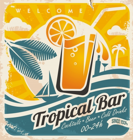 old poster: Retro poster template for tropical bar