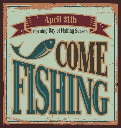 sport fishing: Vintage fishing metal sign
