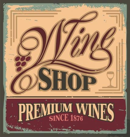 Vintage metal sign for wine shop