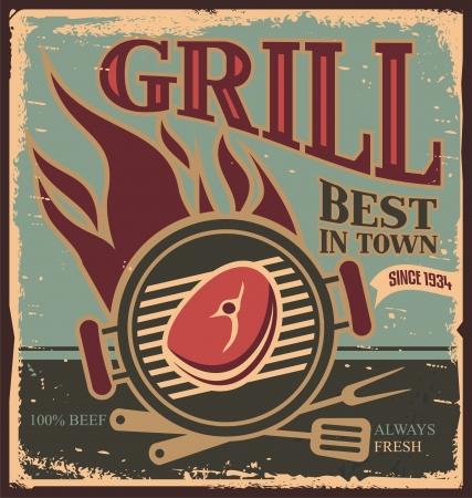 grill meat: R�tro mod�le d'affiche BBQ avec un steak de boeuf frais Illustration