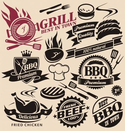 carne asada: Colecci�n de muestras del vector parrilla, s�mbolos, etiquetas e iconos