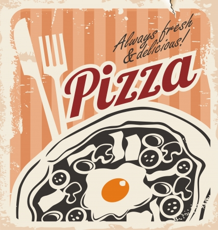 Vintage pizza poster on old paper texture Vector