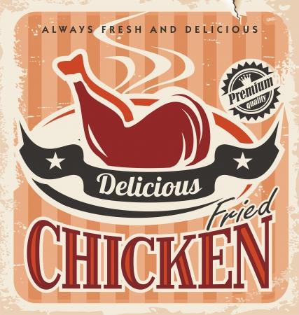 pollo frito: Dise�o del cartel del vector de pollo frito del vintage Vectores