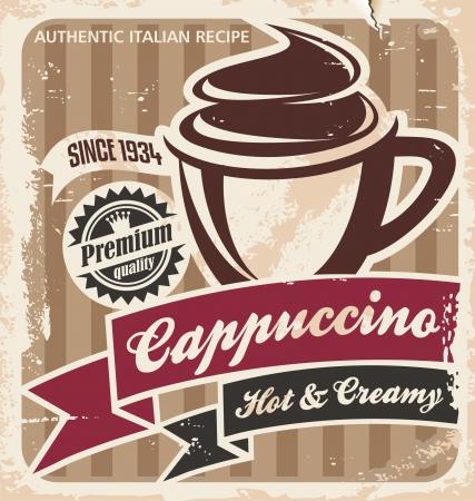 ビンテージ カプチーノ ポスターのコーヒー ショップやレストランのための古い紙テクスチャ背景テンプレートにコーヒー カップ