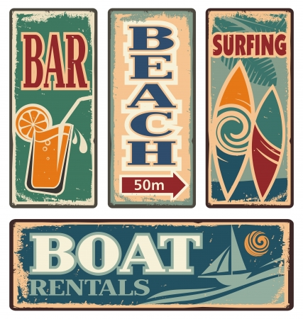 paradise beach: Vintage summer holiday signs Illustration