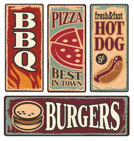 Vintage fast food tin signs Illustration