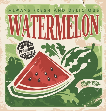 Vintage poster sjabloon voor watermeloen boerderij
