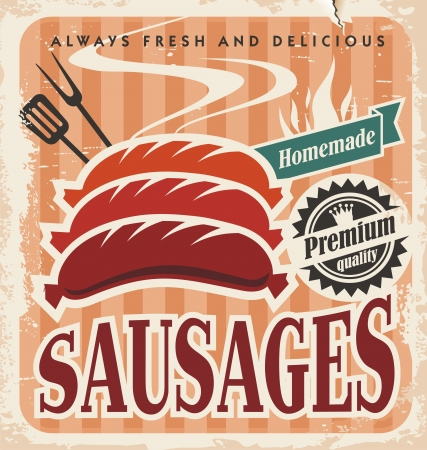 Vintage sausages vector poster Stock Vector - 20847293