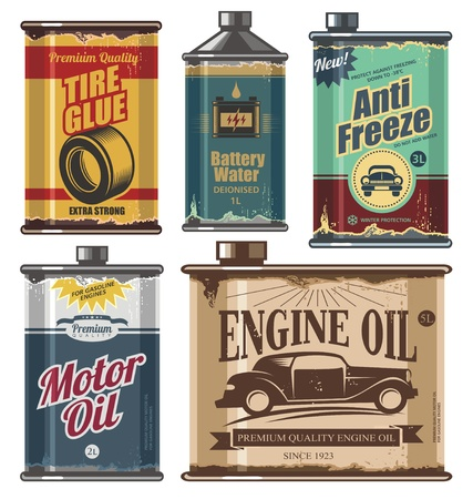 latas: Colecci�n de la vendimia de productos de plantillas a los autom�viles y el transporte Vectores